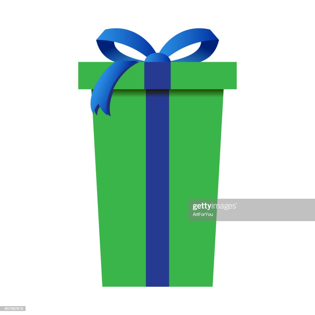Christmas Gift Box with Green Wrapping Isolated