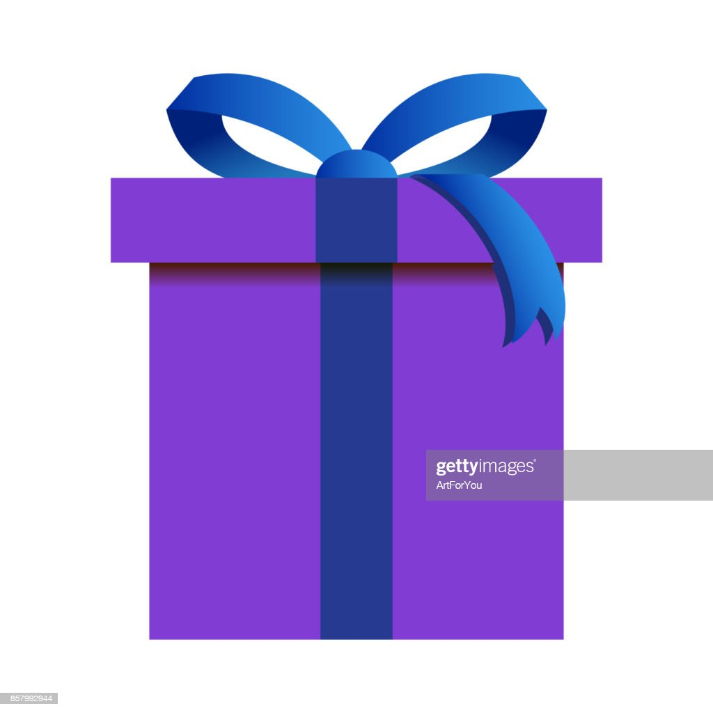 Christmas Gift Box with Purple Wrapping Isolated