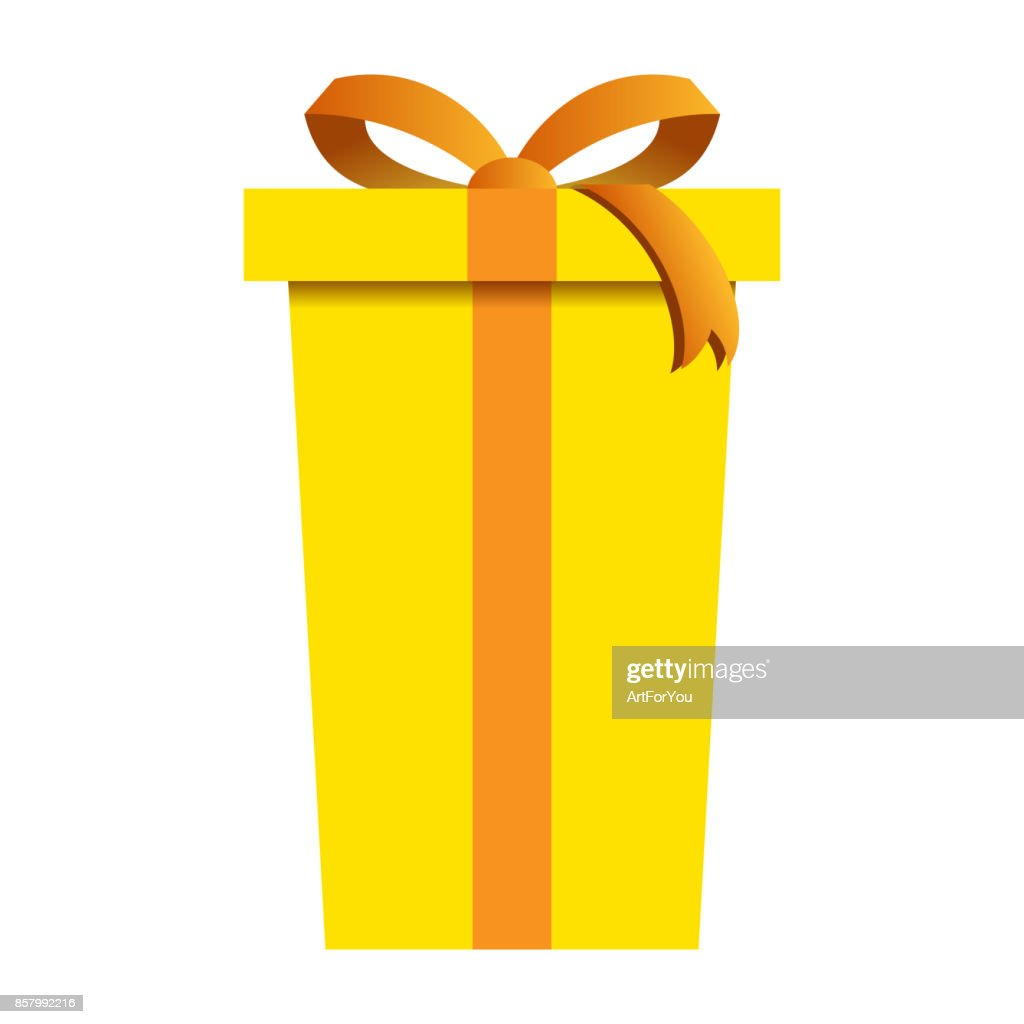 Christmas Gift Box with Yellow Wrapping Isolated