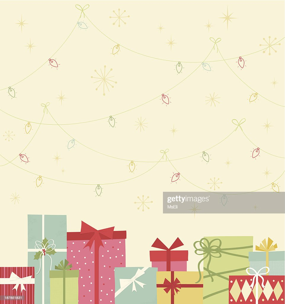 Christmas gift boxes and lights : stock illustration