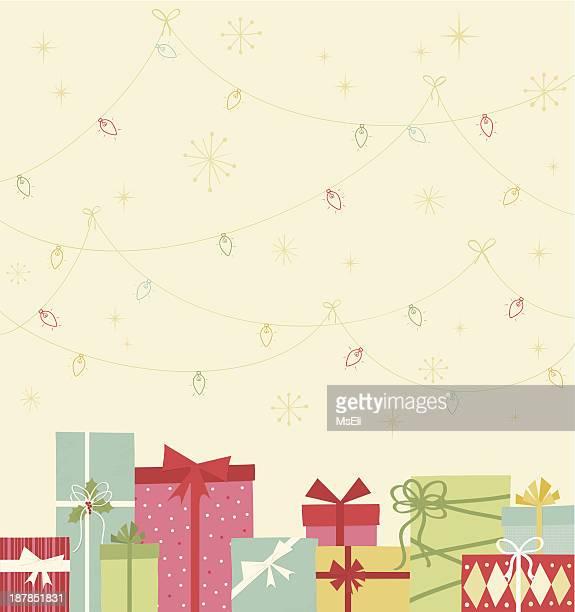 christmas gift boxes and lights - christmas present stock illustrations