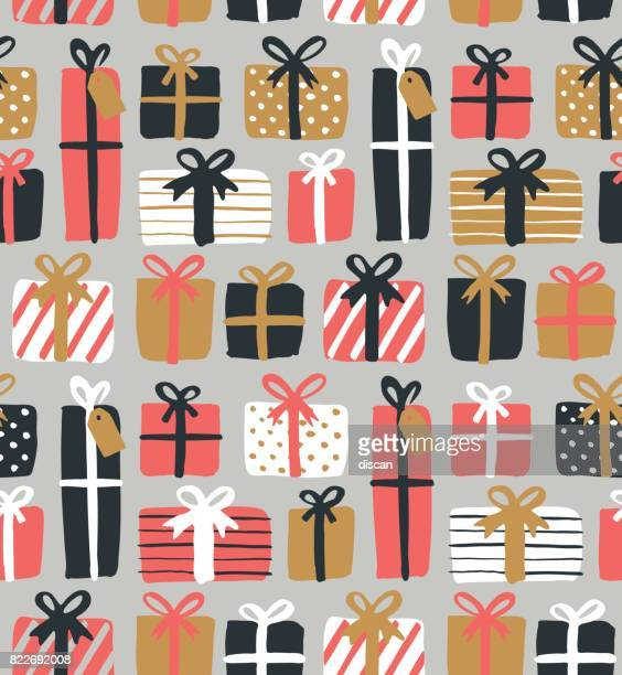 christmas gift boxes seamless pattern - gift stock illustrations