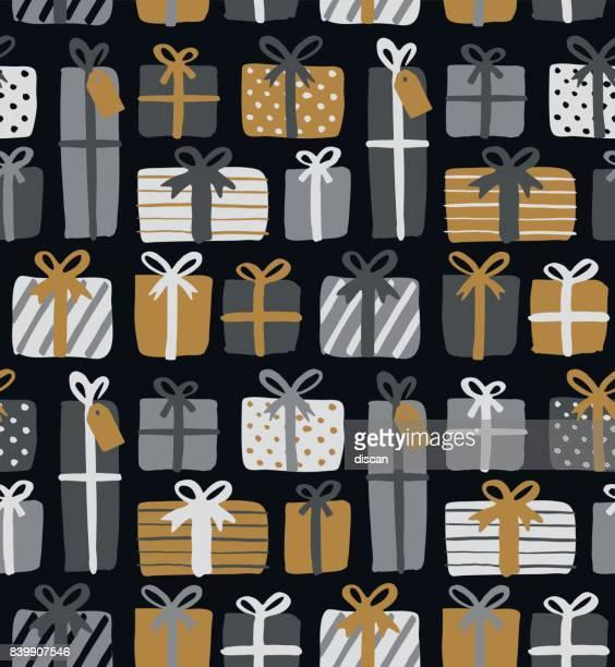 christmas gift boxes seamless pattern - christmas present stock illustrations