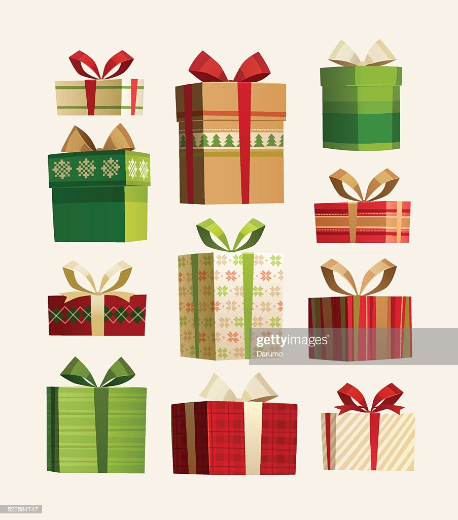 Christmas gift boxes set isolated on white.