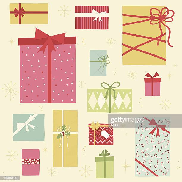 christmas gift boxes - christmas present stock illustrations