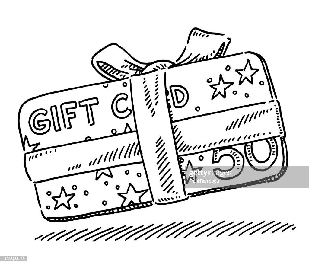 Weihnachten Geschenk Karte Zeichnung : Vektorgrafik