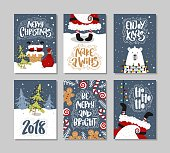Christmas gift cards or tags with lettering. Hand drawn design elements.