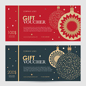 Christmas gift certificate. New Year gift voucher.