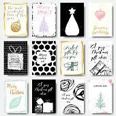Christmas gift tags and cards with calligraphy set. Hand drawn holiday elements. Handwritten modern lettering. Vector