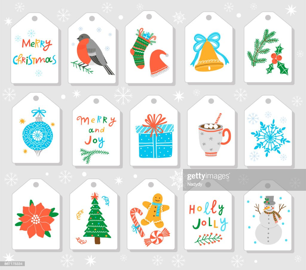 Christmas Gift Tags And Labels Vector Template Vector Art   Getty Images