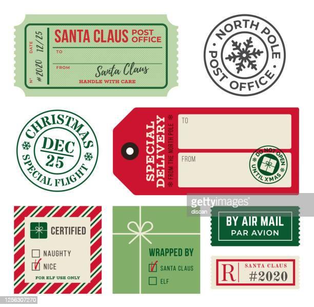 ilustrações de stock, clip art, desenhos animados e ícones de christmas gift tags and mailing labels rubber stamps. - responder