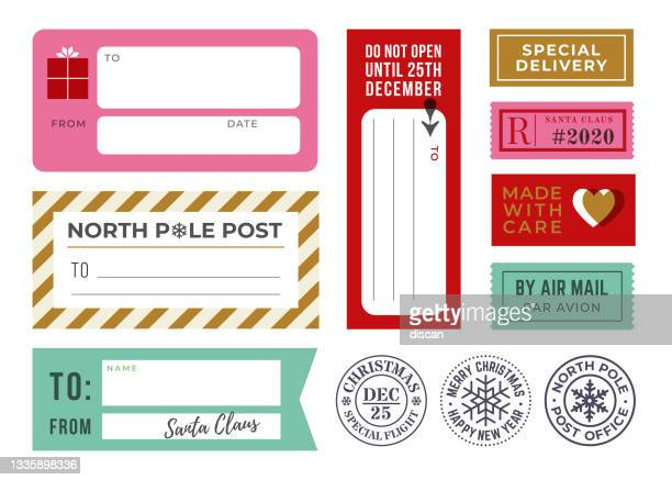 christmas gift tags, sticky labels and mailing rubber stamps. - gift tag note stock illustrations