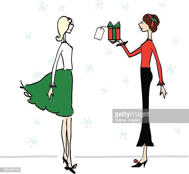 christmas gift - homosexual couple stock illustrations