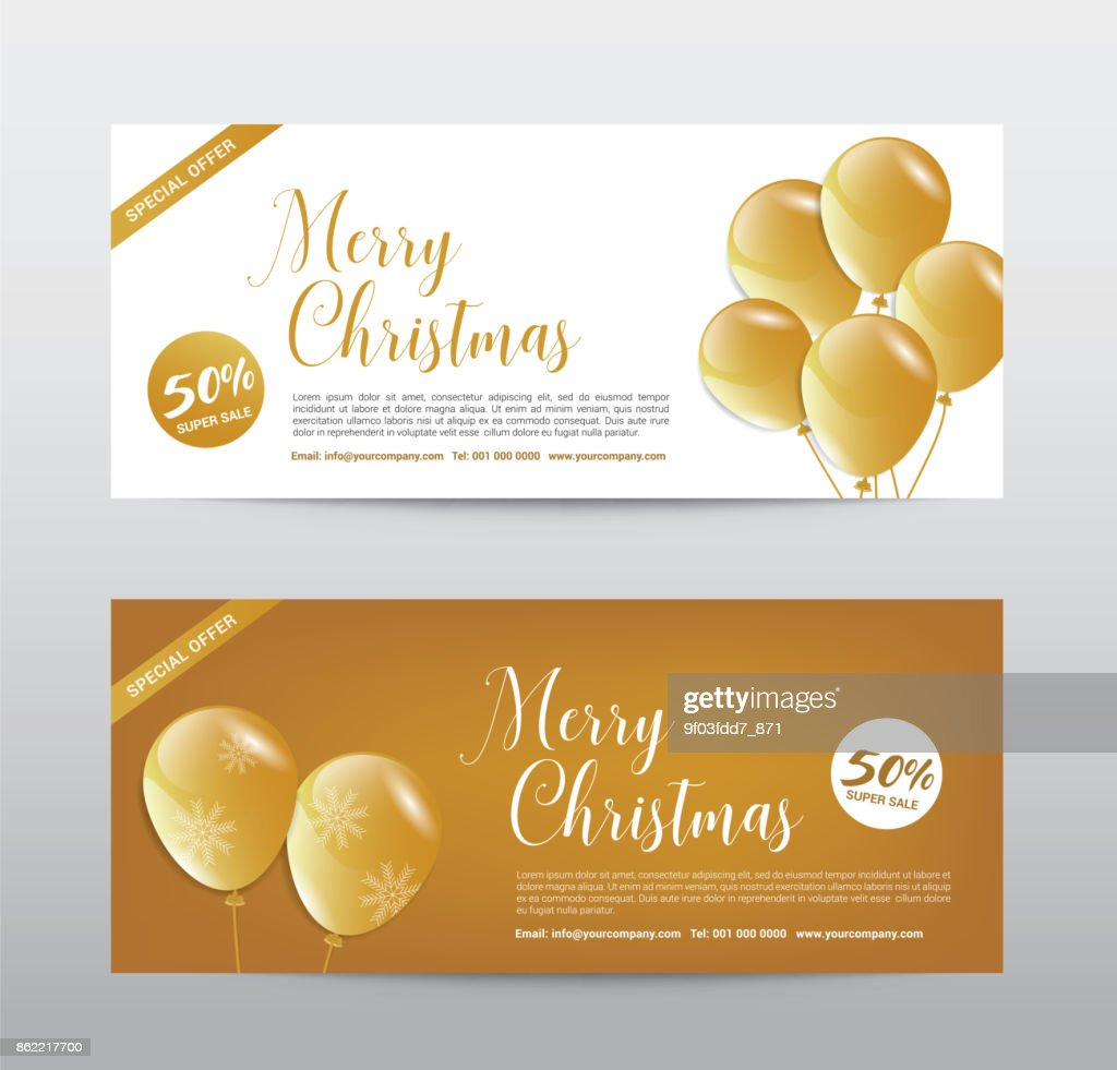 Christmas Gift Voucher Coupon Discount, Gold ballone premium, Background abstract, Vector illustration