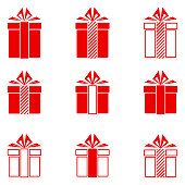 Christmas gifts icons set. Vector Illustration