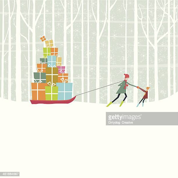christmas gifts pulled through snowy woods on sledge - tobogganing stock illustrations