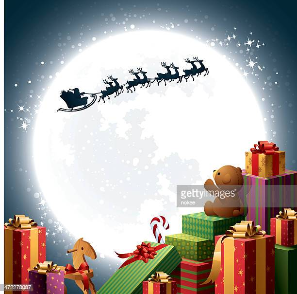 クリスマスギフト-サンタのそり - サンタ ソリ点のイラスト素材/クリップアート素材/マンガ素材/アイコン素材