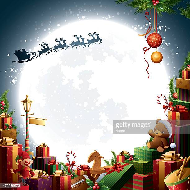 クリスマスギフト&おもちゃ-サンタのそりの - サンタ ソリ点のイラスト素材/クリップアート素材/マンガ素材/アイコン素材