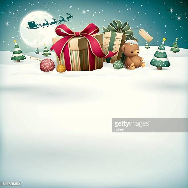 christmas gifts with santa sleigh reindeer - christmas present stock illustrations