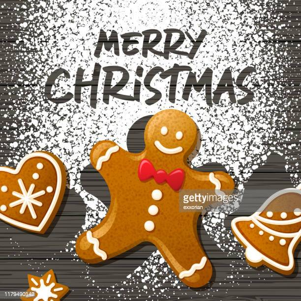 christmas gingerbread cookies - gingerbread man stock illustrations