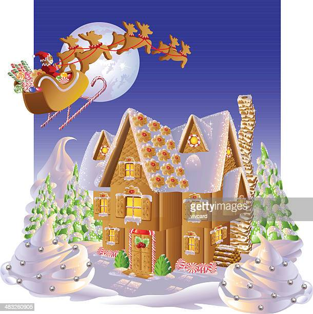 christmas gingerbread - gingerbread house stock illustrations, clip art, cartoons, & icons