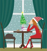 Christmas girl sitting by the window- - Illustration
