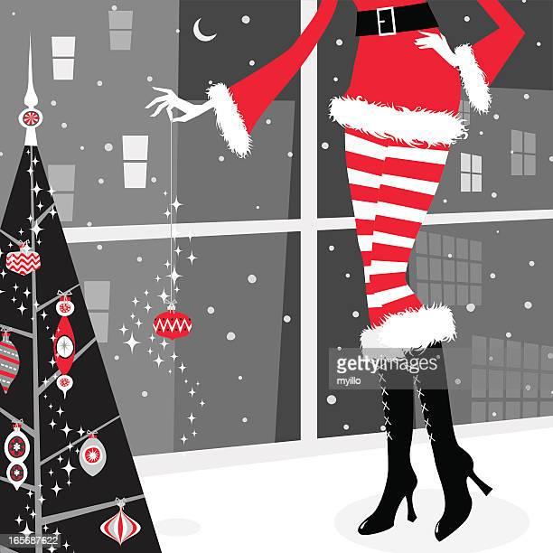 ilustraciones, imágenes clip art, dibujos animados e iconos de stock de chica de navidad - decorar