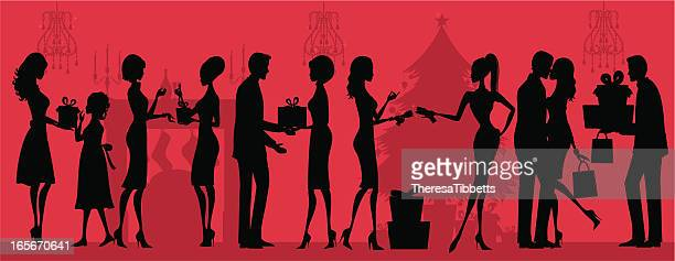 christmas giving silhouette - christmas travel stock illustrations, clip art, cartoons, & icons