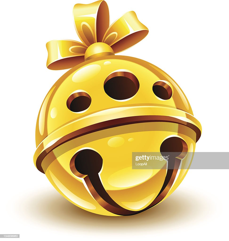 christmas gold bell with bow