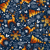 Christmas gold low poly luxury seamless pattern