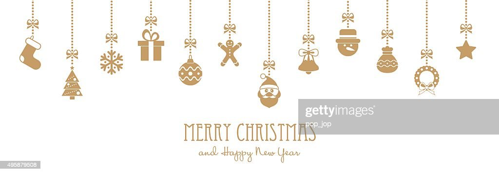 Christmas Golden Hanging Elements and Greeting Text - illustration : Stock Illustration