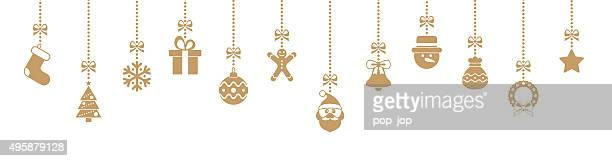 Christmas Golden Hanging Elements - illustration