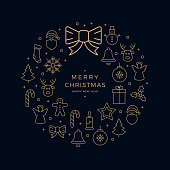 christmas golden icon wreath elements circle black background