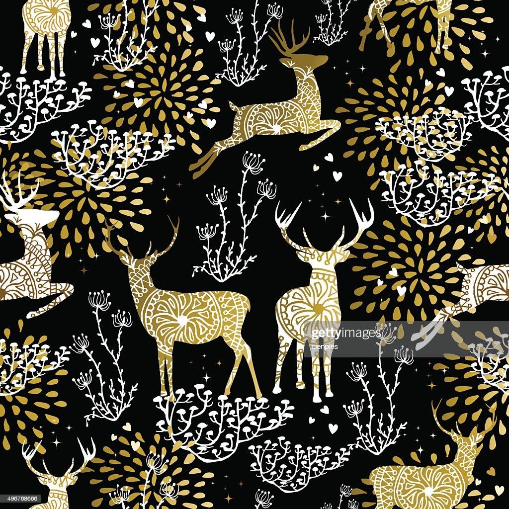 Christmas golden seamless pattern deer reindeer