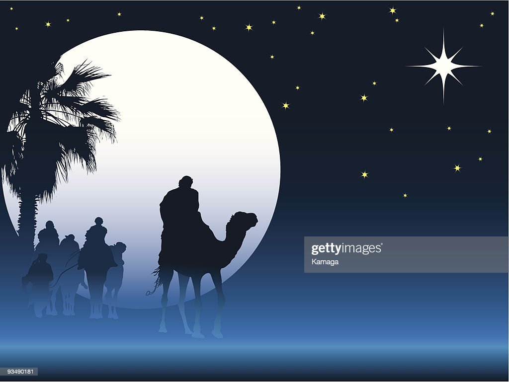 Christmas graphic of the 3 Wise Men following the North Star
