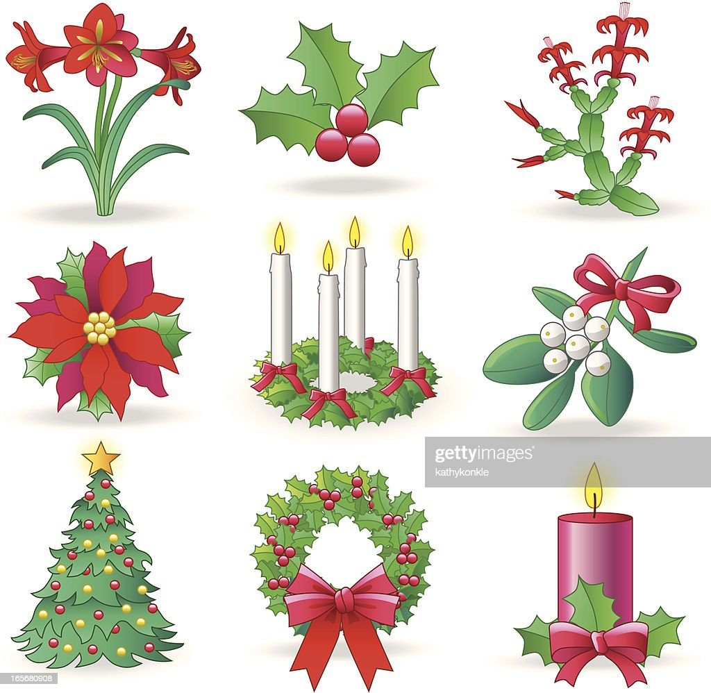 christmas greenery vector art - Christmas Greenery