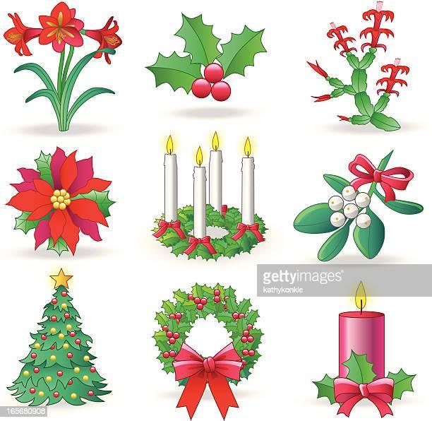 christmas greenery - christmas decore candle stock illustrations