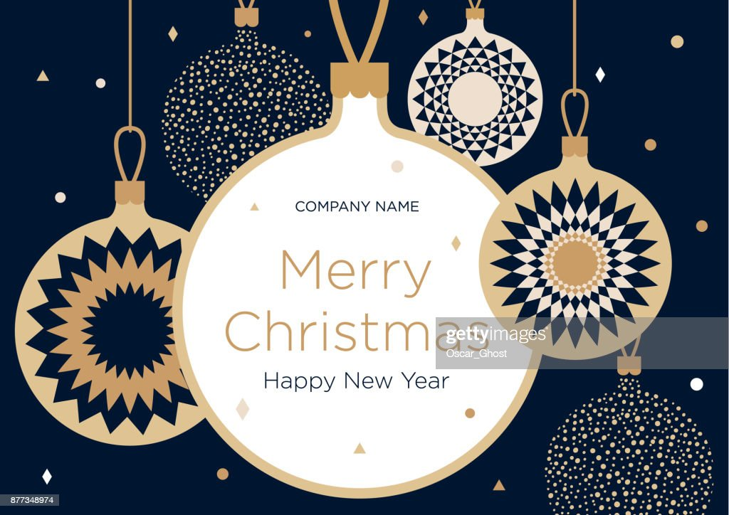 Christmas greeting banner or card. Golden Christmas balls on a dark blue background