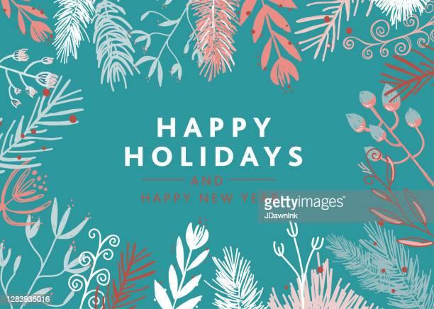 illustrations, cliparts, dessins animés et icônes de conception de carte de vœux de noël avec des branches de guirlande conception de type de vacances heureuses - saison