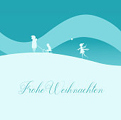Christmas Greeting Card Family with Sled in Winter Nature. Text in German: Frohe Weihnachten, English Translation: Merry Christmas.