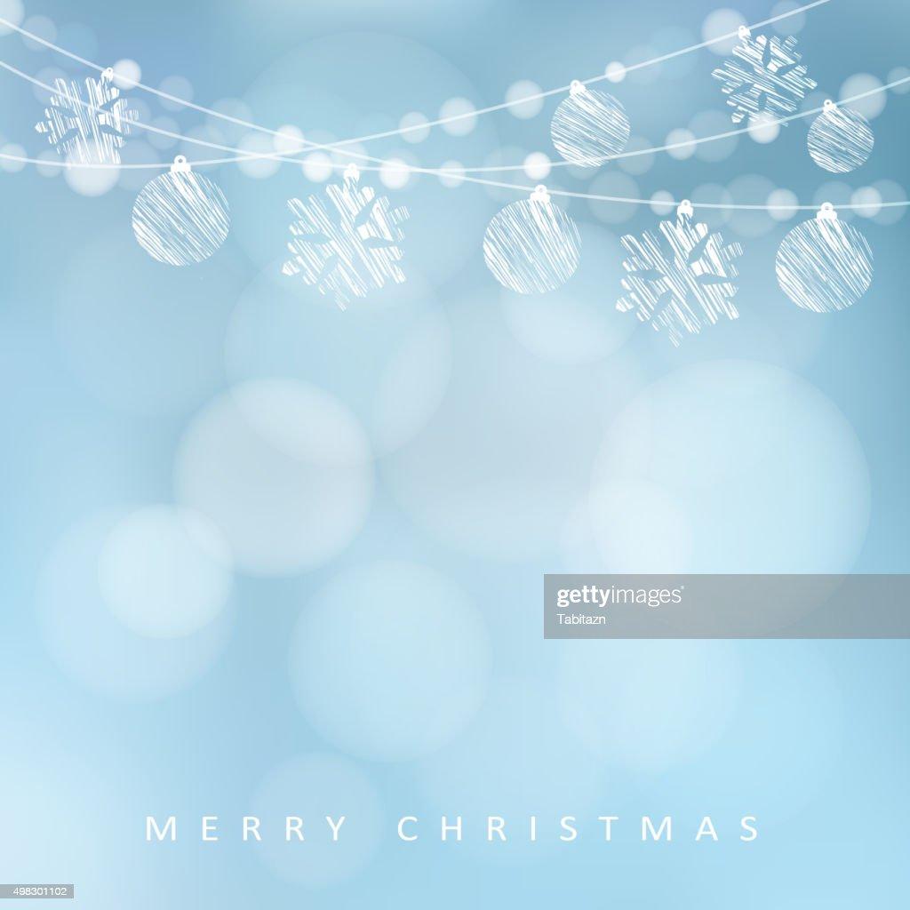 Christmas greeting card, garland of lights, christmas balls, snowflakes, vector