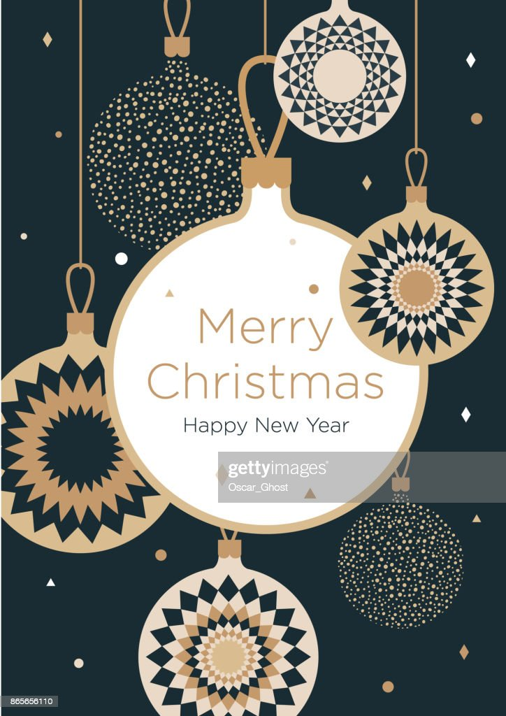 Christmas greeting card. Golden Christmas balls on a dark blue background