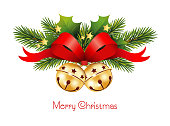 Christmas greeting card in English with fir branches, bells, Ilex branches, red bow and gold star, Christmas banners, Vector illustration isolated on white background