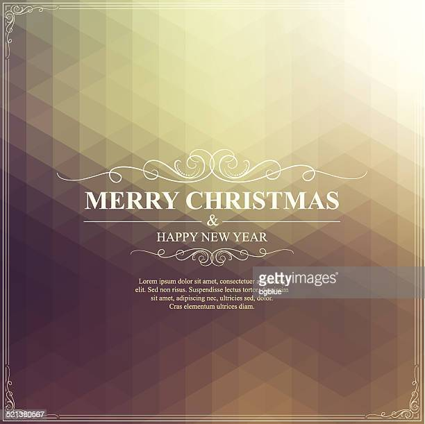 Christmas Greeting Card. Merry Christmas lettering on bright golden Background
