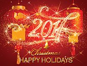 Christmas greeting card on red background.