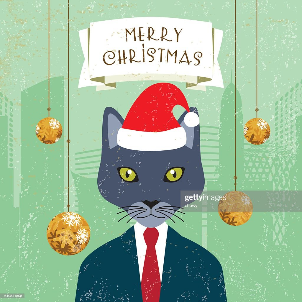 Christmas Greeting Card Santa Klaus Hat Cat Businessman Banner