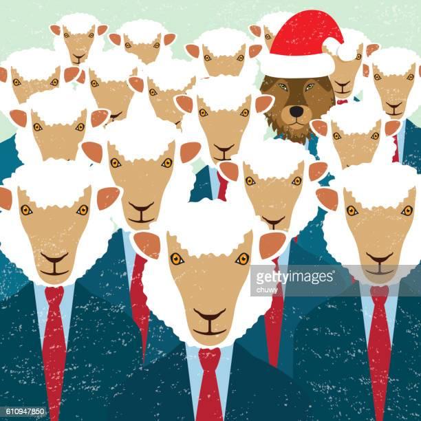 christmas greeting card santa klaus hat sheep wolf businessman - sheep stock illustrations, clip art, cartoons, & icons