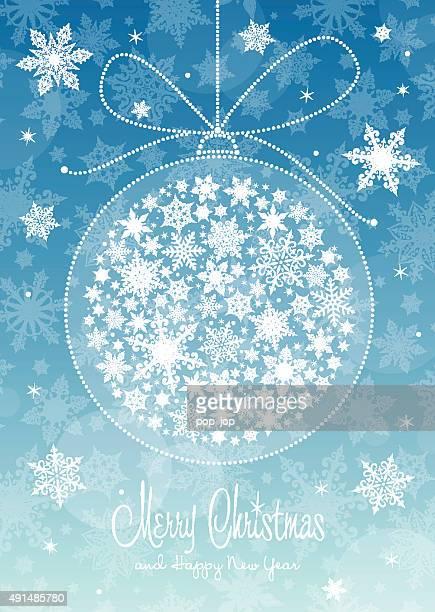 Christmas Greeting Card - Snowflake Ball and Text