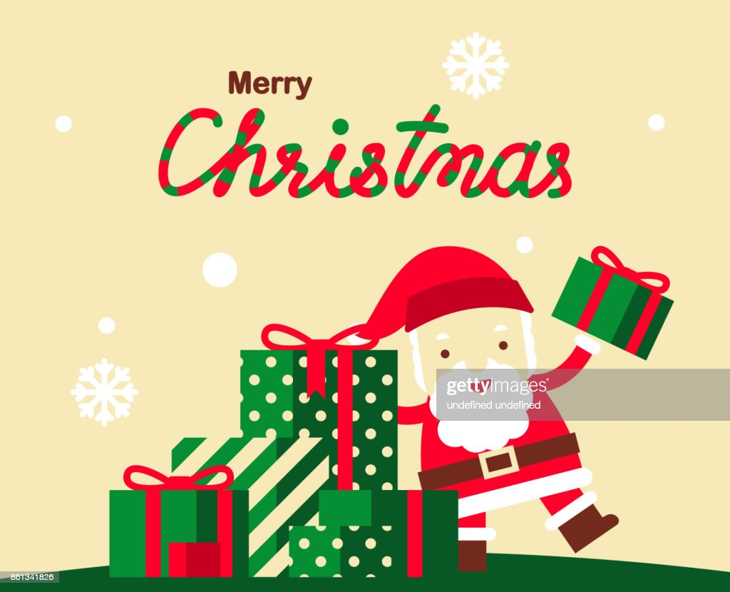 Christmas Greeting Card Vector Design With Cute Santa Claus And
