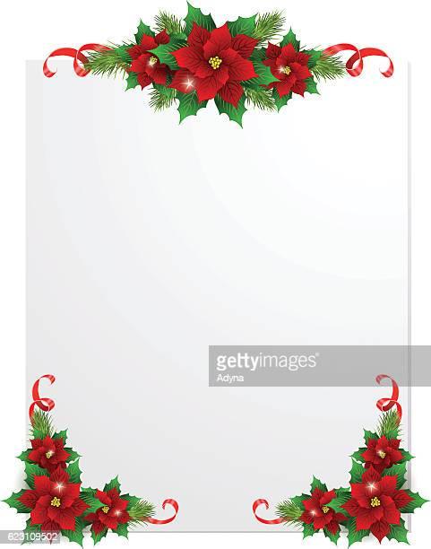 ilustraciones, imágenes clip art, dibujos animados e iconos de stock de tarjeta de felicitación de navidad - flor de pascua